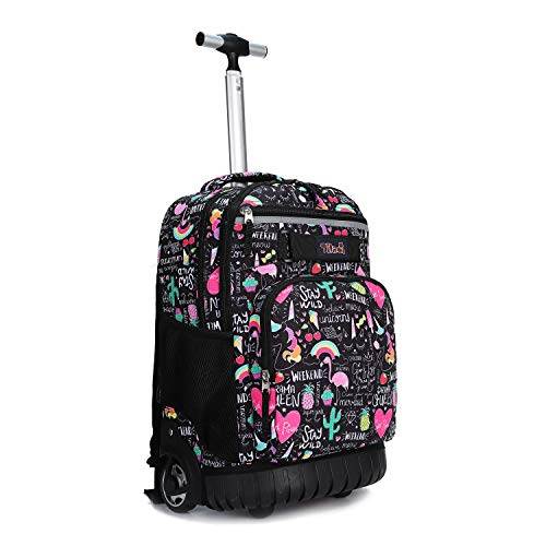 Tilami Rolling Backpack 18 inch Wheeled Laptop Backpack School College Student Travel Trip Boys and Girls, Ins