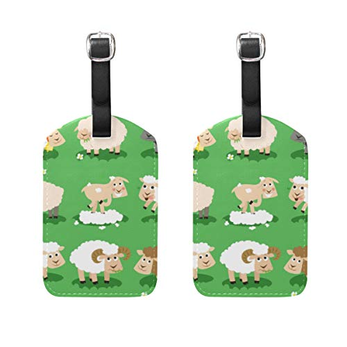 LORONA Variety Of Sheeps Luggage Tags Strings Travel ID Label for Suitcase Carry-on Baggage, Set of 2