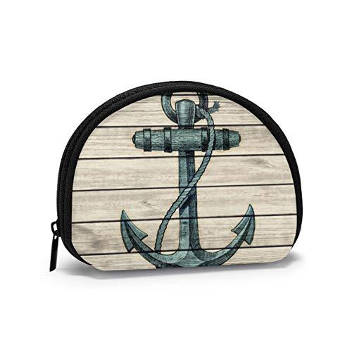 Monedero pequeño con diseño de ancla de barco marino estilo vintage, con cremallera para mujeres y niñas