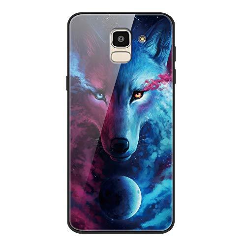 Yoedge Samsung Galaxy J6 2018 Cover, [Ultra Sottile] Antiurto con Modello Disegni Custodia in Vetro Temperato [Morbido TPU Bordo in Silicone] Bumper Case per Samsung Galaxy J6 2018, Lupo