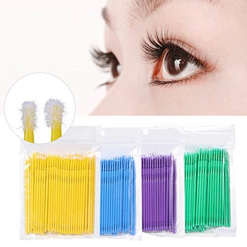 Brosse jetable micro de mascara, brosse de cil de nettoyage de bâton de colle de cils 100Pcs pour la greffe de Lash Sreum(Bleu)