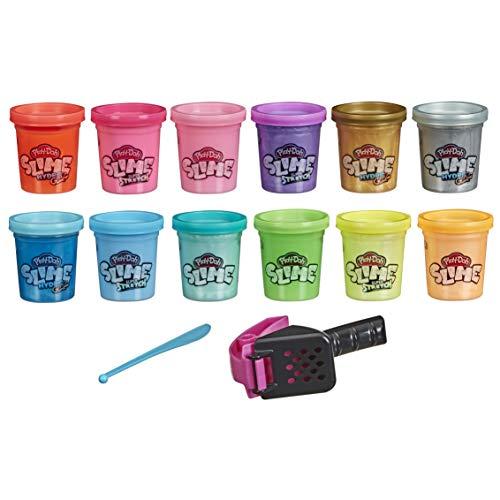 Play-Doh E8998 Slime: Super Stretch und HydroGlitz Vielfalt 12er-Pack für Kinder ab 3 Jahren, 51g-Dosen, sortierte Farben, mit 2 Knetwerkzeugen
