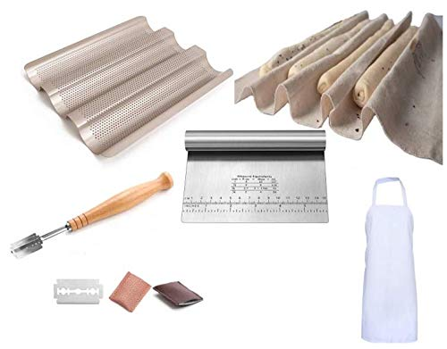 Bread Making Bundle Includes Perforated Baguette Pan, Bread Proofing Cloth, Bread Lame, Stainless Steel Dough Scraper, Apron - Baking Tools Set for Home Kitchen