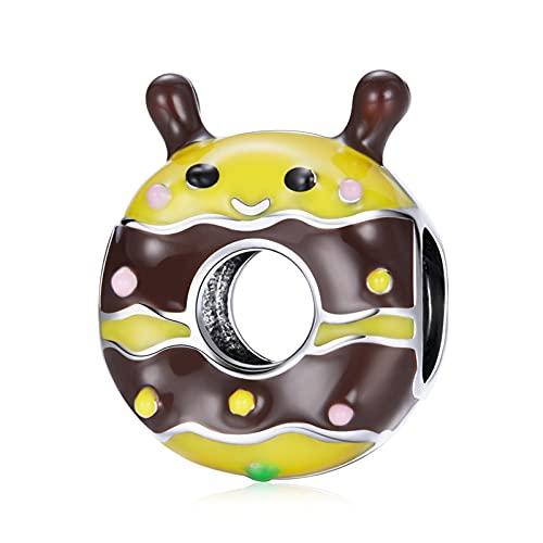 HMMJ Abalorios de Plata esterlina S925, Colgante de rosquilla de Abeja pequeña Hecho a Mano para Pandora Troll Chamilia Charm Bracelet SCC1878