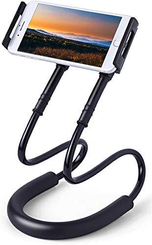 Halstelefonhalter Handyhalter am Hals hängen Universal Smart Handyständer 360 ° Drehung Flexibler Telefonhalter Halterung Langarm Lazy Bracket für Smartphone Mini-Tablet Schwarz