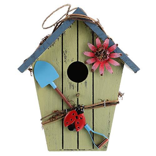 Hemoton Casa de pájaros de madera, decoración de jardín al aire libre, casa de pájaros salvajes, casa de pájaros de madera colgante ornamento ventana jardín hogar decoración al aire libre