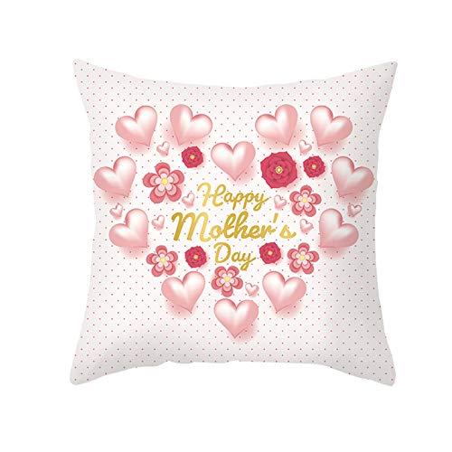 AtHomeShop 40 x 40 cm Fundas de cojín decorativas en poliéster con Happy Día de la Madre Corazón Flor Suave Funda de cojín cuadrada para salón, sofá terraza Decoración – Oro Rosa, Estilo 26