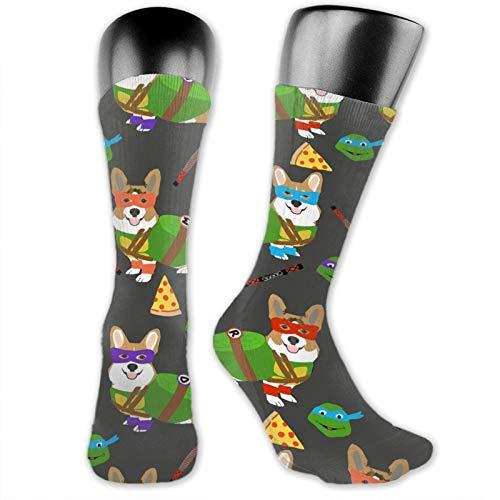 ~ Long Socks for Women,Teenage Mutant Corgis Cute Dogs in Costumes Nursing Performance Stockings Thick Elastic Winter Warm Knitted Socks Wear-Resistant Sweat