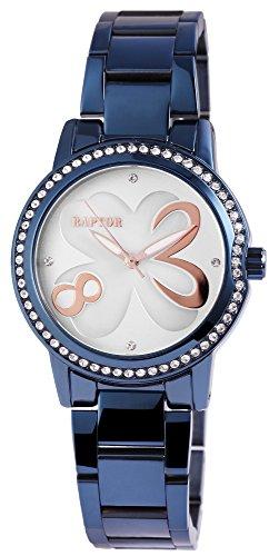 Raptor Damen-Uhr Edelstahl Armbanduhr Muster Analog Quarzwerk RA10129