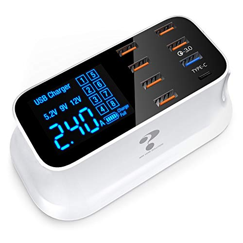 Multiple USB Charger, 8-Port Desktop Charging Station Hub with Quick Charge 3.0 USB Port, Type C Port and LCD Display, Compatible with iOS & Android Devices (iPhone, iPad, Huawei, Samsung Galaxy)