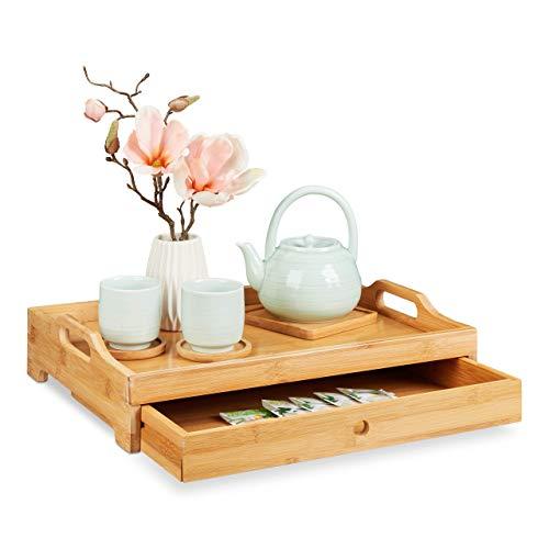 Relaxdays Bambus Serviertablett, entnehmbare Schublade, Frühstückstablett mit Griffen, H x B x T: 10 x 43 x 31 cm, natur