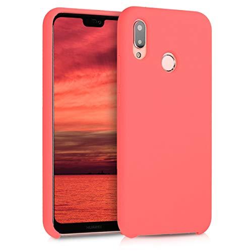 kwmobile Cover Compatibile con Huawei P20 Lite - Custodia in Silicone TPU - Back Case Protezione Cellulare Corallo Fluorescente