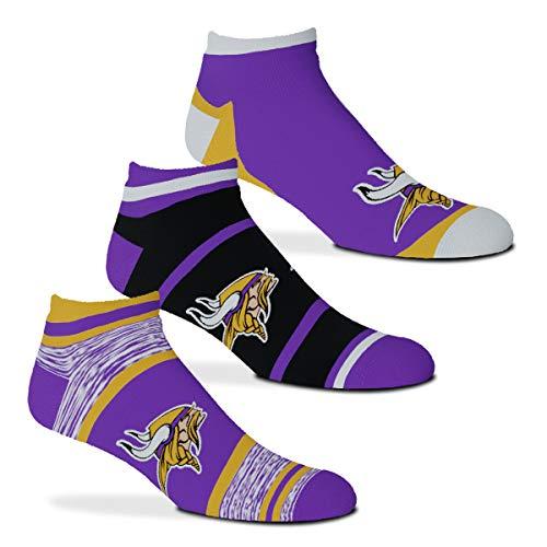 FBF Originals - $100 Cash Money Team Football - No Show Ankle Socks - 3 Pack (Minnesota Vikings, Large 10-13)