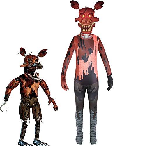 Disfraz de FNAF para niño Mono de Cosplay de Nightmare Foxy Overoles de una Pieza para Disfraz de Fiesta de Halloween