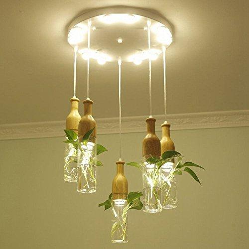SUO hydroponische Pflanzenlampe aus nordischem Glas Kronleuchter Restaurant Persönlichkeit LED DEN, A, 5 Teste