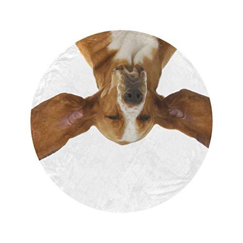 Manta redonda con orejas voladoras, suave y acogedora, manta de felpa, manta de oficina para casa, cama, sofá de viaje (47 pulgadas/60 pulgadas)