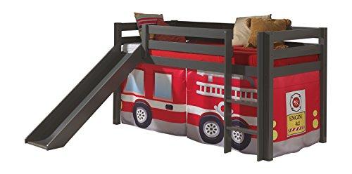 Vipack PICOHSGB1570 Spielbett Pino mit Rutsche und Textilset Feuerwehr, Maße 210 x 114 x 218 cm, Liegefläche 90 x 200 cm, Kiefer massiv Taupe lackiert