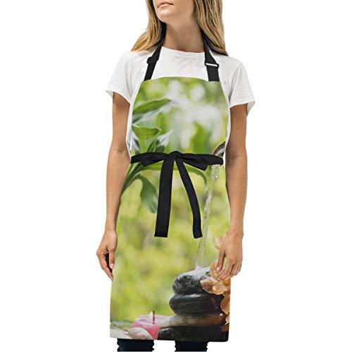 エプロン 女性用 おしゃれ メンズ 温泉岩に 流れる竹の滝 母の日 キッチン カフェ サロン 作業用 ワーク H型 可愛い 首掛け シンプル キャンプ