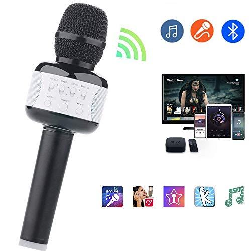 Mengen88 draadloze karaoke-microfoon, draagbare KTV Bluetooth hometrainer met Bluetooth luidspreker voor feestjes thuis, KTV smartphone/tablet enz, zwart