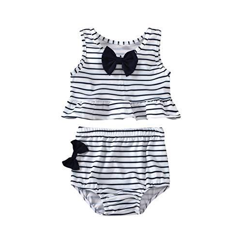 upxiang - Traje de baño para niña de dos piezas con tira sin mangas con lazo para la playa o la piscina - Disfraz de verano para niña - Juego de 0 – 4 años Color blanco. 3 años