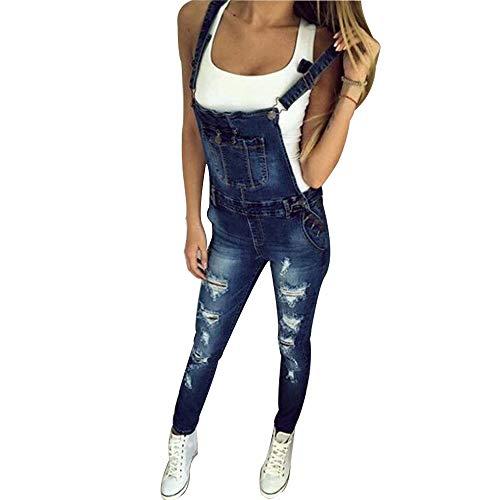 Elegant Damen Sommer Loch Latzhose Jeans Jumpsuits, Morbuy Retro Mode Einfarbig Lang Jeanshose mit Taschen Denim Casual Overalls Playsuit Hose Schwangere Hosen (L,Dunkelblau)