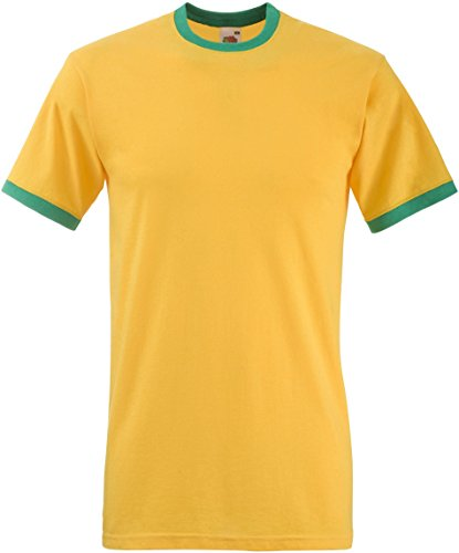 Fruit of the Loom - T-shirt - - Uni - Crew - Manches courtes Homme - - Sunflower / kelly green - Medium