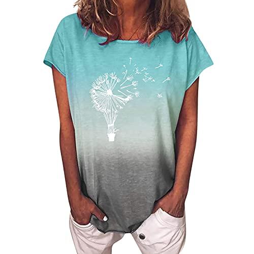 Camiseta de manga corta para mujer con estampado de diente de león, cuello redondo, camiseta informal de verano, ligera, para mujeres y adolescentes, básica, suelta verde menta M
