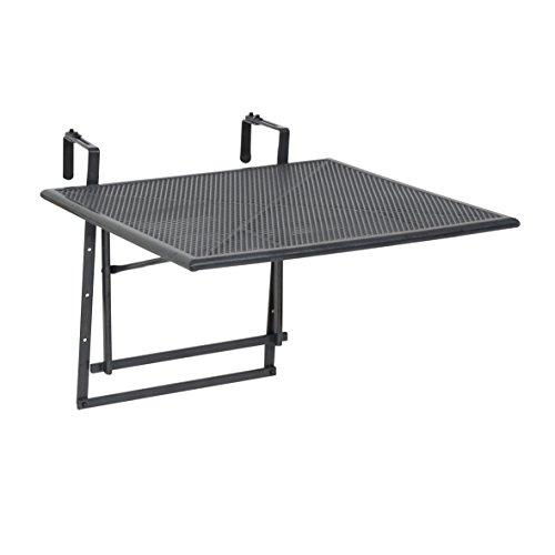 """Greemotion Tavolino pieghevole da balcone modello """"Toulouse"""", tavolino da appendere alla ringhiera del balcone, regolabile in altezza, ca. 70 x 47-79 x 88 cm, grigio ferro"""
