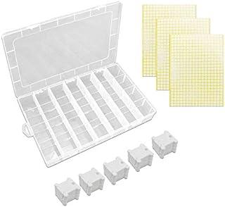 Bobinas para Hilo 100 Piezas & 3 Hojas Pegatina Redonda & Caja de Almacenamiento para Bordar a Punto de Cruz Manualidades Plástico