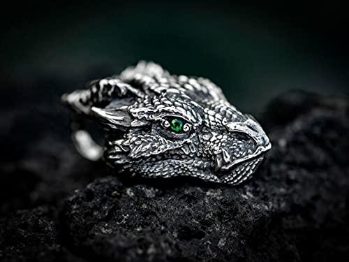 QPGVBP Colgante de dragón de Plata - Cadena gótica Vintage para Regalo del día del Padre, Regalo para Hombres