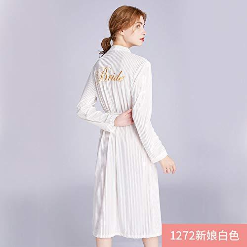 FDJIAJU Robes Voor Vrouwen, Mode Bruid Kimono Robes Dames Fluwelen Streep Pyjama Slaapmode Womens Winter Nachtjassen Badjas Voor Thuis Kleding Bruiloft Dressing Jurk