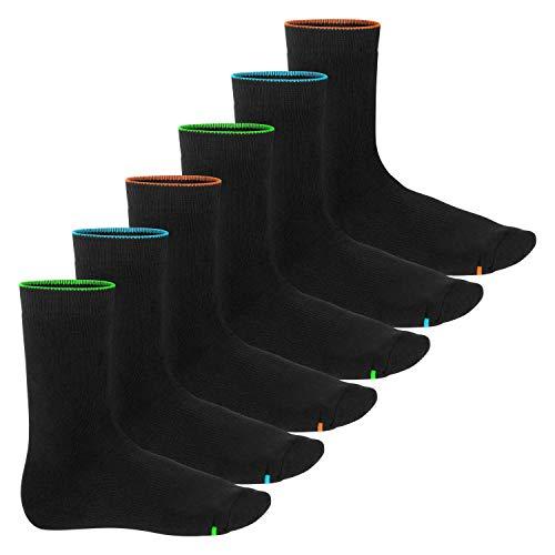 Footstar Damen und Herren Wintersocken (6 Paar), Warme Vollfrottee Socken mit Thermo Effekt - Neon Glow 39-42