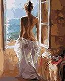Niños Bricolaje Pintura al óleo Kit Vista posterior de la mujer en pijama blancoDIY Conjunto Completo de Pinturas para el Hogar Kits personalizados para pintar por números para adultos 40.6X50.8Cm