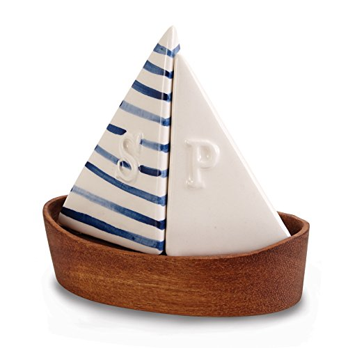 Mud Pie Nautical Sailboat Salt and Pepper Shaker Set, Saiboat