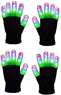 Light Gloves - (2 Pairs) - Pair LED Finger Light Gloves Warm, Flashing LED Light Up Gloves and 6 Different Modes for Light Up Glove Kids, Gifts Ideas and LED Gloves Kids