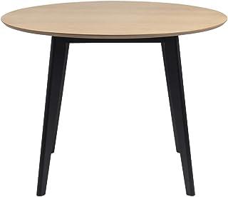 Selsey GEMIRRO - Table à Manger (Noir/Bois, Ø 105 cm, Plateau Rond)