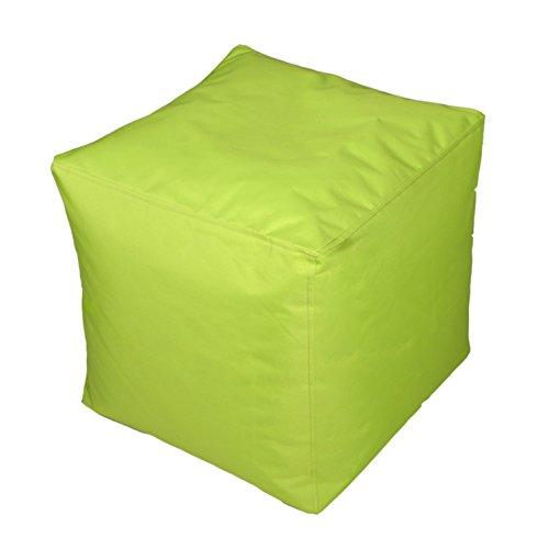 Kinzler S-10117/120 Sitzwürfel, ca. 40x40x40 cm, Outdoor & Indoor, Sitzsack in vielen verschiedenen Farben, wasserabweisender Hocker, apfel grün