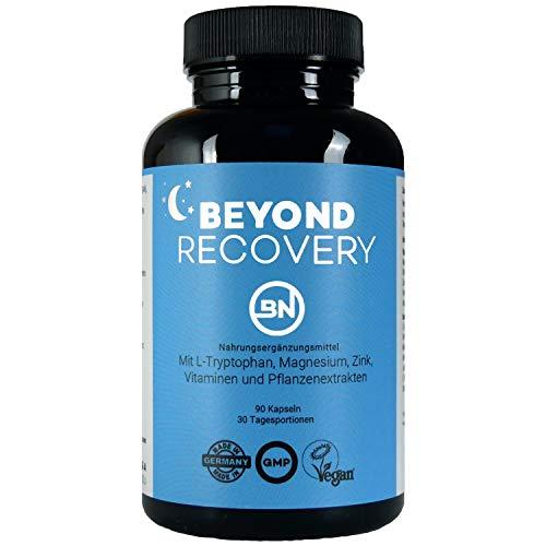 Beyond Recovery natürliche Nährstoffe für eine wohltuende Nacht mit Melatonin-Vorstufe L-Tryptophan, Ashwagandha, Kamille, L-Theanin & Magnesium, 90 Kapseln - kein Schlafmittel, extra stark