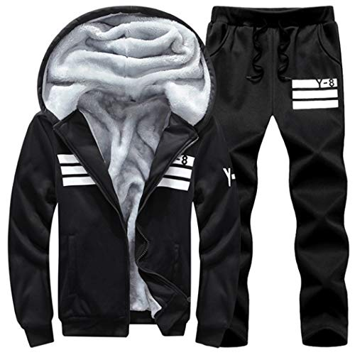 Men 2 Pieces Sets Tracksuit Autumn Winter Thick Hooded Sweatshirt Coat+Pants Outfit Sportswear Set
