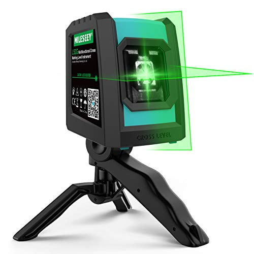 Mileseey Laser Level, DIY Self-Leveling Green Beam Horizontal and Vertical Cross Line Laser with Rotatable Folding Tripod/Magnetic Point/Rechargeable for Construction/Hanging Pictures