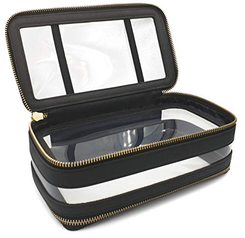 Global Commuter - 2 Compartment Premium TSA Approved Genuine Saffiano Leather and PVC Toiletry Bag/Cosmetic Case (8.5 x 4.75 x 3 inches) - Black