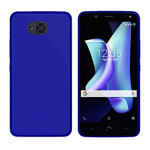 TBOC® Funda de Gel TPU Azul para bq Aquaris U2 - bq Aquaris U2 Lite (5.2 Pulgadas) de Silicona Ultrafina y Flexible