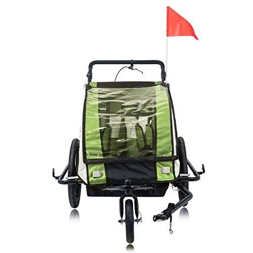 SAMAX Fahrradanhänger Jogger 2in1 360° drehbar Kinderanhänger Kinderfahrradanhänger Transportwagen vollgefederte Hinterachse für 2 Kinder in Grün – Black Frame - 9
