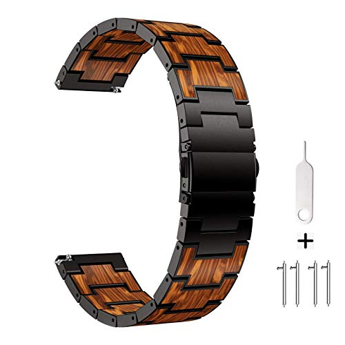 AWMES Compatible with Samsung Galaxy Watch 45mm 46mm Band, Gear S3 Band, Natural Wooden Red Sandalwood Stainless Steel Metal Link Bracelet Band for Samsung Gear S3 Classic/Frontier (Black)