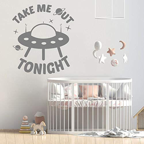 Pegatina de pared de barco alienígena, calcomanía de vinilo para pared, decoración del hogar, esta noche, pegatina para dormitorio de estrella de jardín de infantes, chica adolescente, niño