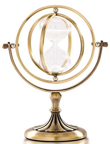 Sanduhr Sanduhr Rotierende Messing Sanduhr 15 Minuten Vintage Metall Stundenglas für Dekoration Große Antike Sanduhr Timer (15 Min)