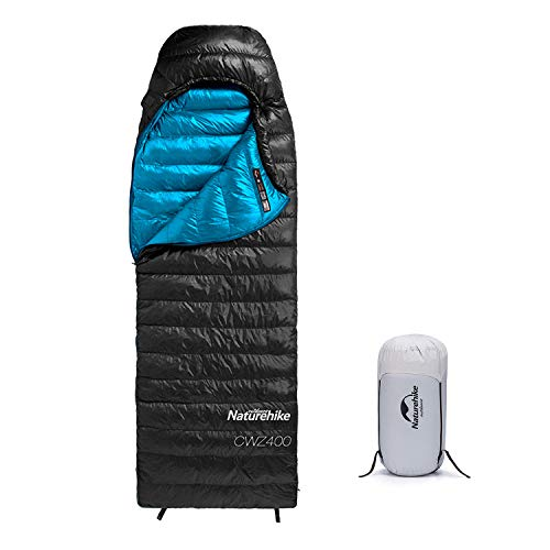 Naturehike Ultralight Goose Down Sleeping Bag 750/550 Fill Power for Adults & Kids Cold Weather 3-4 Season Waterproof Portable Compact Down Filled Sleeping Bag Camping, Backpacking, Hiking - Black