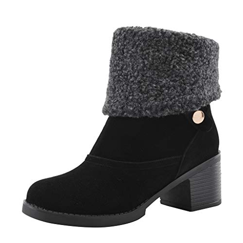 Best Review Of BeautyVan Womens Wide-Calf Boots Fold Suede Block Heel Zipper Winter Snow Boots
