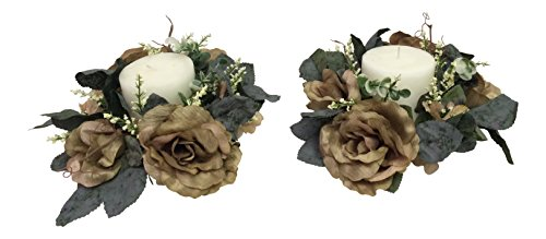 Wholesale Silk Floral Antiqued Victorian Candle Ring (Set of 2), Decorating Wedding, Party Anniversary Christmas Mother's Day Home Indoor & Outdoor Window Large Even Accessories, 3-in, Sage, 2 Piece