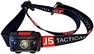 J5 Tactical LED Headlamp Flashlight with Red Lights for Tracking or Reading - Outdoor Running, Camping, Backpacking, Fishing, Hunting, Climbing, Walking, Jogging - Water Resistant